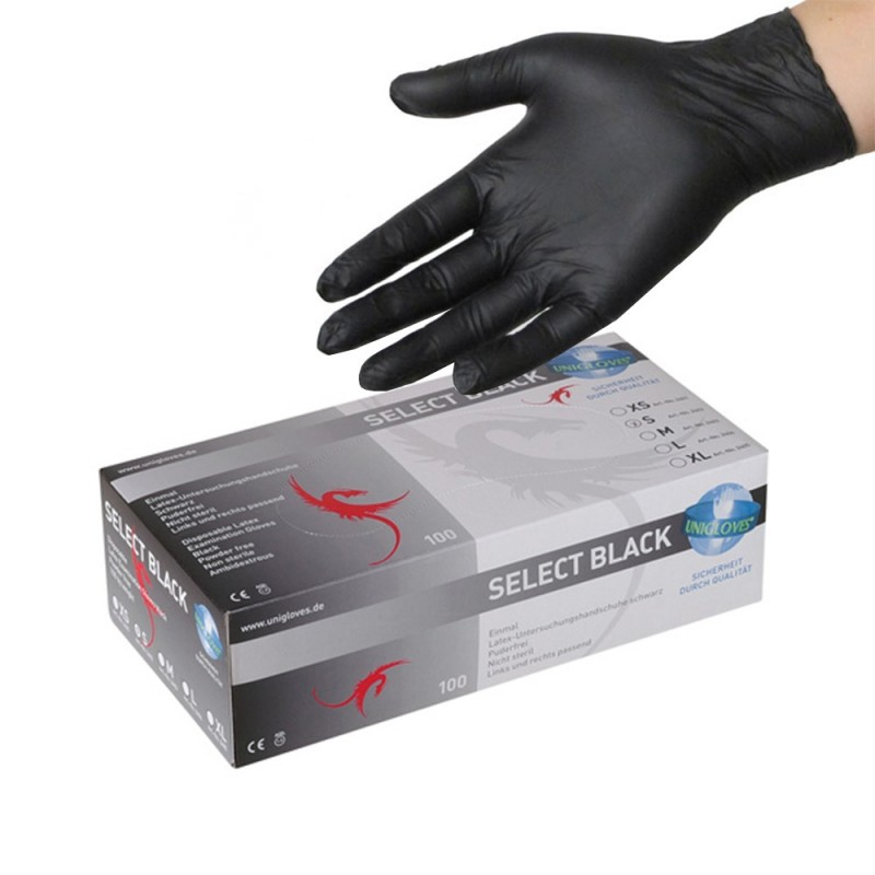 SELECT BLACK Latex Gloves (S-M-L)