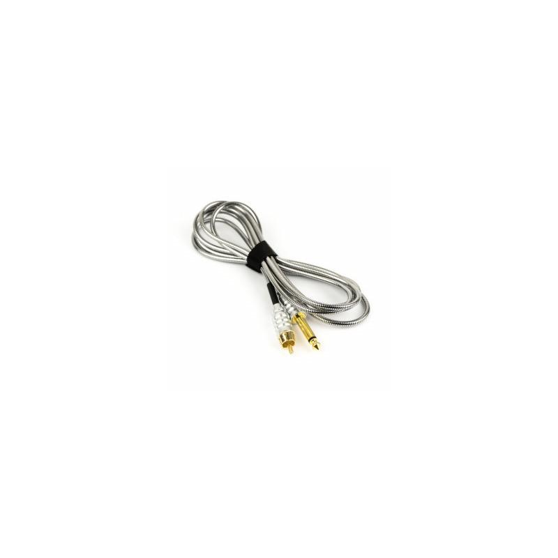 RCA Braided Titan Style Clip Cord 2m (Silver)