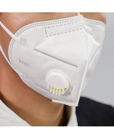 Apsauginė veido kaukė - respiratorius su vožtuvu 4 sluoksnių KN95/FFP2  1vnt.