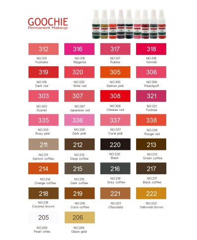 Goochie Microblading pigmentai (kreminiai) (10ml.)