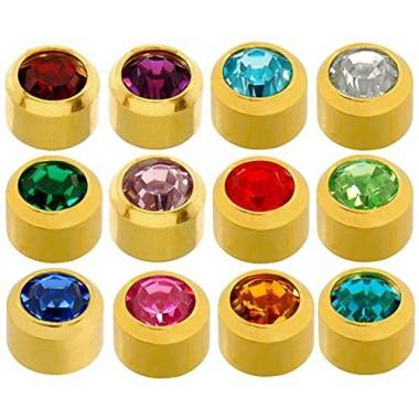 Caflon® sterilių spalvotų auskarų (auksiniame apvade) rinkinys