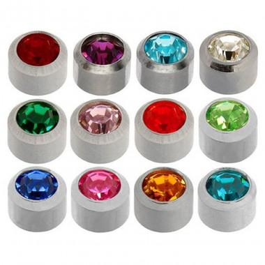 Caflon® sterilių spalvotų auskarų (sidabriniame apvade) rinkinys