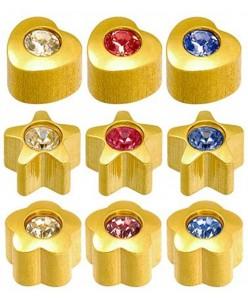 Caflon®  sterilūs spalvoti įvairių formų paauksuoti auskarai